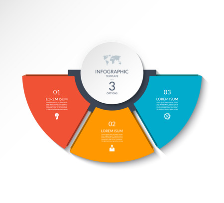 Business infographic semi circle template with 3 options. Can be used as a chart, workflow layout, diagram, data visualization, minimalistic web banner. 矢量图像