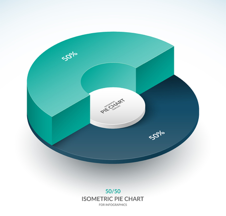 Infographic isometric pie chart circle. Share of 50 and 50 percent. Vector template.