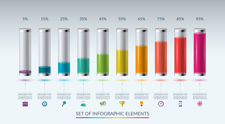 Set of infographic elements for graph, chart or diagram in the form of glass flasks filled with colored liquid. Vector illustration Çizim