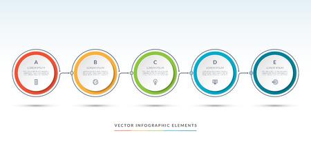 Modello di infografica timeline vettoriale di 5 cerchi. Può essere utilizzato per il web design, diagramma, opzioni di passaggio, grafico, grafico, presentazione aziendale.