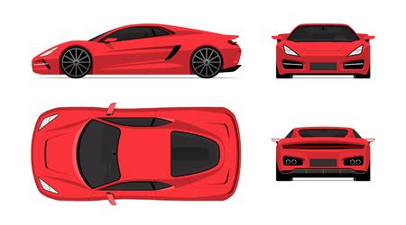 Sportwagen in platte ontwerpstijl. Voor-, achter-, zij- en bovenaanzicht van de supercar geïsoleerd op een witte achtergrond