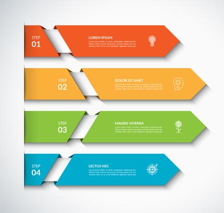 Infografika szablon strzałki z 4 opcjami. Może być używany do diagramu, wykresu, wykresu, raportu, projektowania stron internetowych. Ilustracja wektorowa