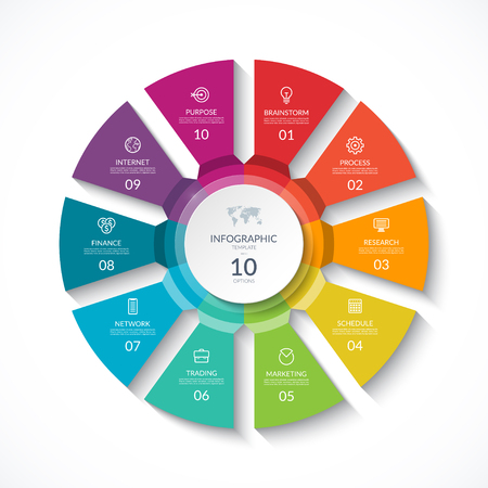 Vector infographic circle. Cycle diagram with 10 stages. Round chart that can be used for report, business analytics, data visualization and presentation.