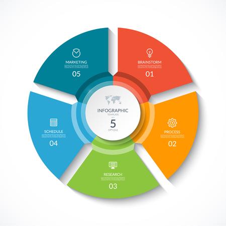 Wektora infographic koło. Schemat cyklu z 5 etapami. Okrągły wykres, który można wykorzystać do tworzenia raportów, analiz biznesowych, wizualizacji i prezentacji danych.