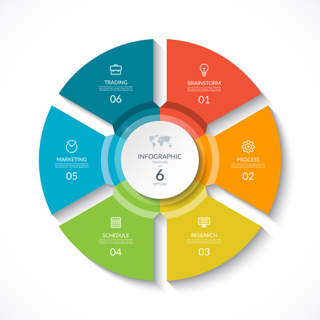 Vector infographic circle. Cycle diagram with 6 stages. Round chart that can be used for report, business analytics, data visualization and presentation. Ilustração
