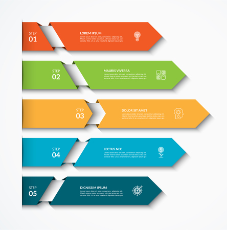Infographic arrow template with 5 options. Can be used for diagram, graph, chart, report, web design. Vector illustration Illustration