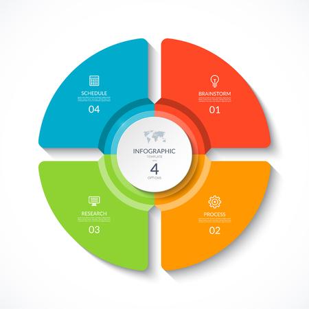 Cercle d'infographie de vecteur. Diagramme de cycle avec 4 options. Graphique rond pouvant être utilisé pour le rapport, la présentation commerciale, la visualisation des données.