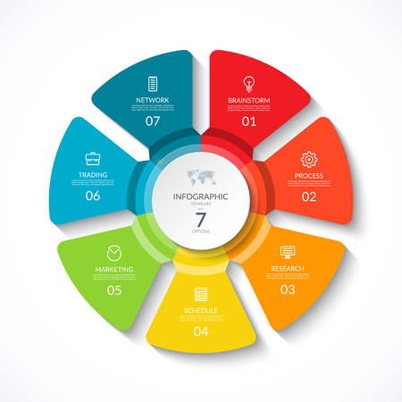 Vector infographic circle. Cycle diagram with 7 options. Round chart that can be used for report, business presentation, data visualization. Ilustração Vetorial