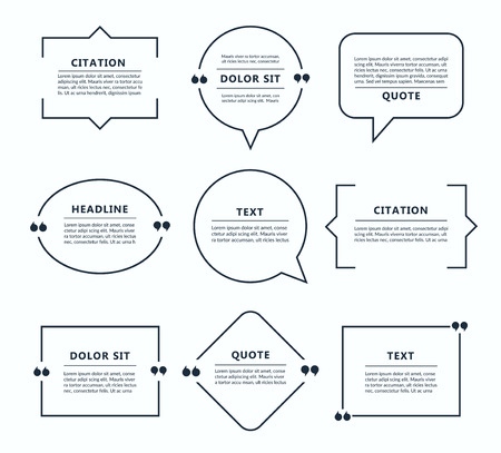 Quote box, speech bubble, text in brackets, citation template isolated on white background. Vector illustration. Banque d'images - 124618102