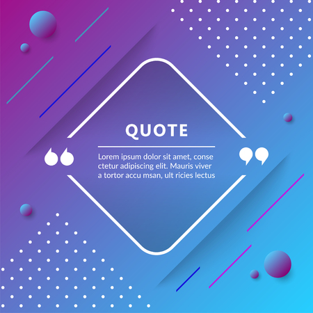 Quote box isolated on trendy geometric background. Vector illustration.