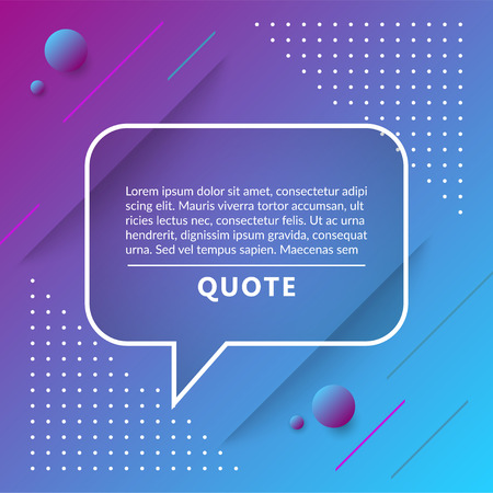 Quote box, speech bubble isolated on trendy geometric background. Vector illustration. Banque d'images - 124618111