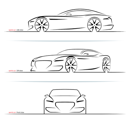 Ensemble de silhouettes de voitures de sport isolé sur fond blanc. Vue de côté, de trois quarts et de face. Illustration vectorielle