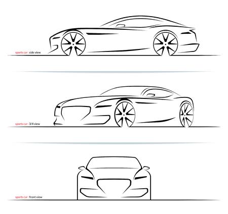 Zestaw sylwetki samochodów sportowych na białym tle. Widok z boku, w trzech czwartych i z przodu. Ilustracja wektorowa
