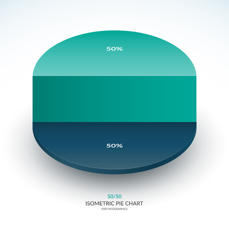 Infographic isometric pie chart template. Share of 50 and 50 percent. Vector illustration. Illustration