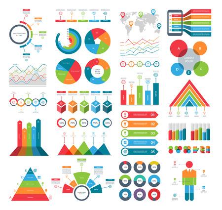 Set von Infografik-Elementen mit einfachen Vorlagen für Geschäftsanalysen, Datenvisualisierung, Präsentation. Vektor-Kit mit Diagrammen, Histogrammen, Zeitleiste, Kreisdiagrammen.