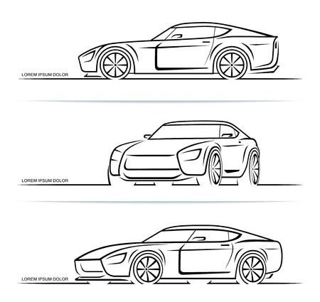 Set di sagome di auto sportive delinea contorni isolati su sfondo bianco. Illustrazione vettoriale Vettoriali