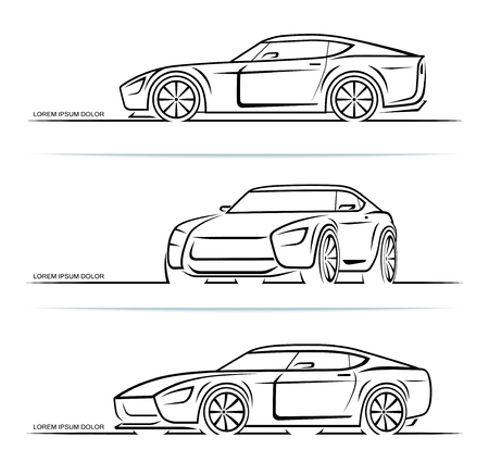 Set of sports car silhouettes outlines contours isolated on white background. Vector illustration 일러스트