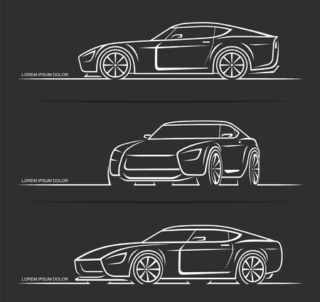 Set of sports car silhouettes outlines contours isolated on black background. Vector illustration Stockfoto - 121887987