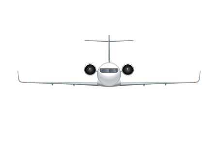 Flying airplane, regional jet aircraft, airliner. Front view of detailed passenger air plane isolated on white background. Vector illustration.