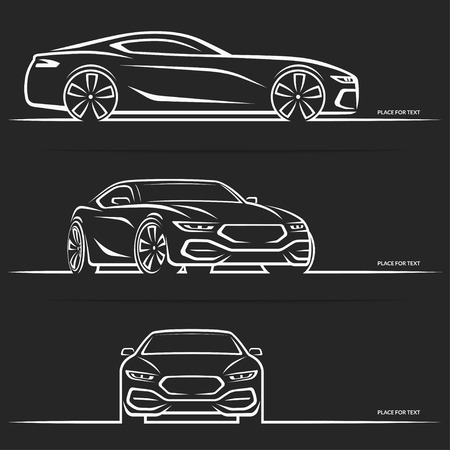 Vector sports car silhouette. Side, perspective and front view.