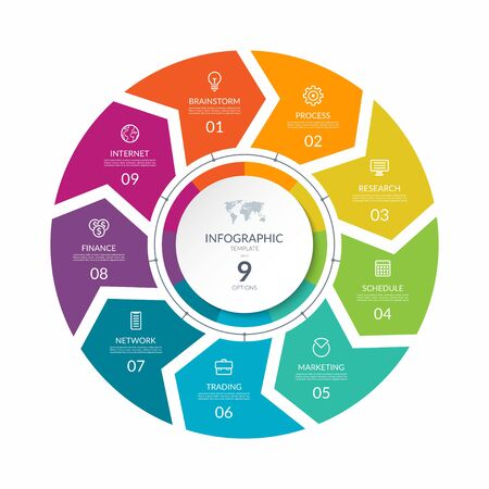 Infographic process chart. Cycle diagram with 9 stages, options, parts. Can be used for report, business analytics, data visualization and presentation.
