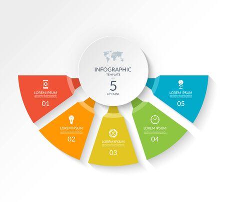 Modèle de demi-cercle d'infographie avec 5 options. Peut être utilisé comme graphique, mise en page de flux de travail, diagramme, visualisation de données, bannière Web minimaliste.