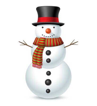 Bonhomme de neige avec chapeau et écharpe isolé sur fond blanc. Illustration vectorielle