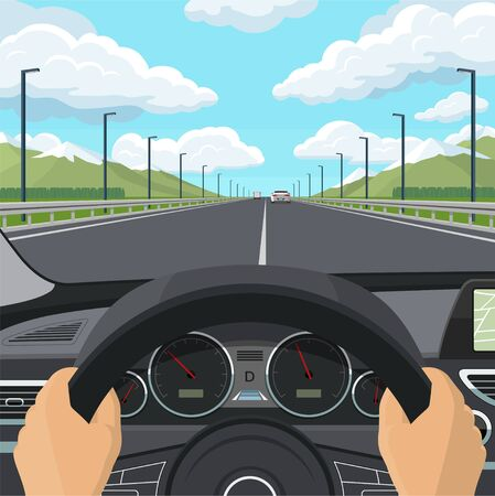 Car drive POV concept. View from inside of a car. The drivers hands on the steering wheel, the dashboard, the car interior, the highway and traffic. Vector illustration