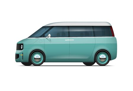 City car. Modern electric car or hybrid in vintage style isolated on white background. Family van. Easy to recolor. Vector illustration