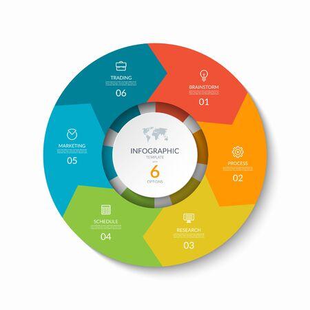 Grafico del processo infografico. Modello di progettazione con 6 frecce circolari.