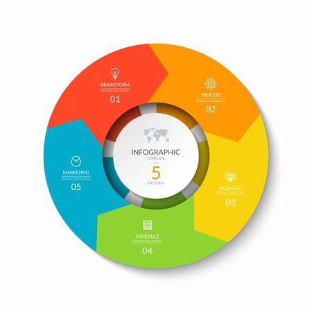 Infografik Prozessdiagramm. Designvorlage mit 5 kreisförmigen Pfeilen.