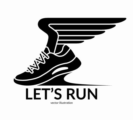 Sneaker with wings. Running sport shoe symbol, icon, . Lets run concept. Vector illustration  イラスト・ベクター素材