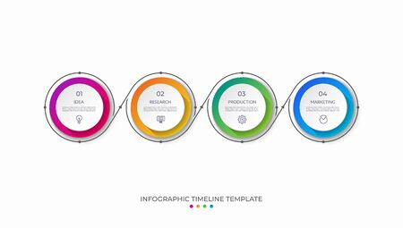 Timeline infographic template in thin line flat style. Vector banner with 4 options. Can be used for web design, diagram, chart, graph, business presentation. Illustration