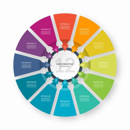 Infographic process chart. Circular design template with 12 arrows pointing to the center. Cycle diagram that can be used for report, business infographics, data visualization and presentation. Ilustración de vector