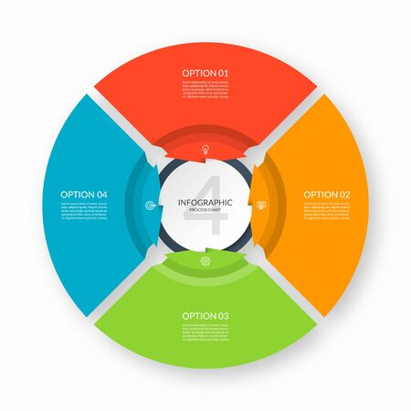 Infographic process chart. Circular design template with 4 arrows pointing to the center. Cycle diagram that can be used for report, business infographics, data visualization and presentation.