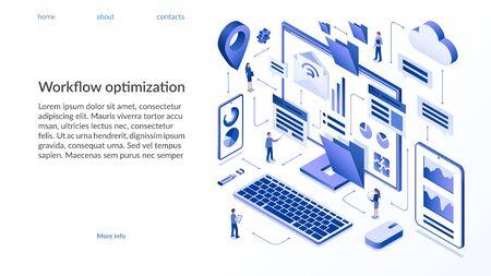Workflow optimization isometric concept.