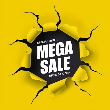 Mega Sale banner in the form of torn hole with ripped edges in the sheet of paper. Special offer design. Discount, 50 percent off template. Vector background with place for text