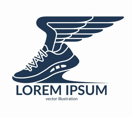 Running shoe symbol, icon, logo. Sneaker with wings. Vector illustration