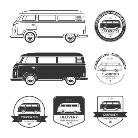 Set of vintage car service labels, emblems, logos, badges. Silhouettes of bus, minibus, van, minivan, wagon in retro style. Black vector design elements isolated on white background Illustration