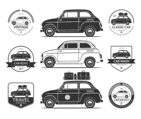 Set of small classic car silhouettes in vintage style Illustration