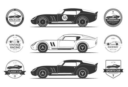 Set of classic sports car silhouettes and vintage car service labels, emblems, logos, badges. Vector illustration 로고