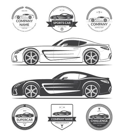 Set of modern sports or super car silhouettes with collection of car service labels, emblems, logotypes. Black vector illustration isolated on white background Illustration