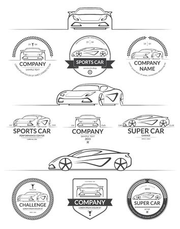 Set of sports car silhouettes with auto service logos, labels, emblems, design elements. Vector illustration