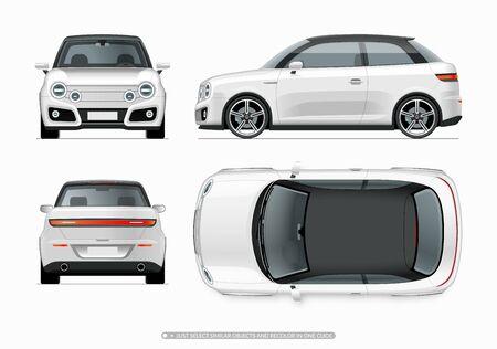 Modello moderno di city car compatta. Vista laterale, superiore, anteriore e posteriore di una piccola auto noname bianca realistica isolata su sfondo bianco.