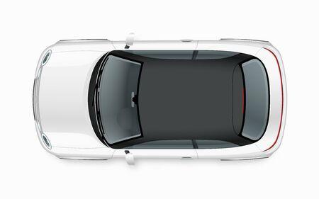 Maquette de voiture de ville compacte moderne. Vue de dessus d'une petite voiture noname blanche réaliste isolée sur fond blanc.
