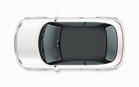 Modern compact city car mockup. Top view of realistic small white noname car isolated on white background.