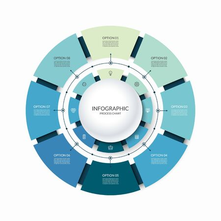 Infographic circular chart divided into 8 parts. Step-by step cycle diagram with eight options designed for report, presentation, data visualization.