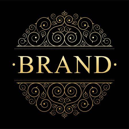 Retro vintage luxury logo template with floral elegant calligraphic elements.