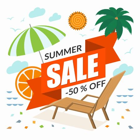 Summer sale banner. Special offer template. Discount label. Vector illustration