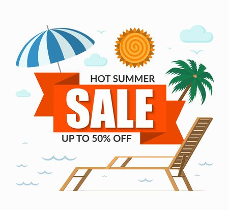 Summer sale banner. Special offer template. Discount label. Up to 50 percent off background. Vector illustration